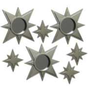 Set of 7 Gold-Tone Stars Mirror Wall Decor