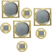 Set of 7 Gold-Tone Circles and Squares Wall Mirrors