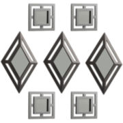 Set of 7 Silver-Tone Diamond and Square Wall Mirrors