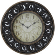Mirrored Leaf Round Wall Clock