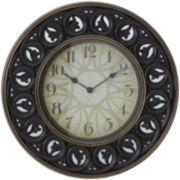 Mirrored Leaf Round Wall Clock