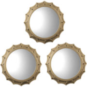 Set of 3 Double-Flare Round Wall Mirrors