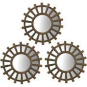 Set of 3 Sunburst Bordered Round Wall Mirrors