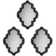 Set of 3 Sweetheart Bordered Black Wall Mirrors
