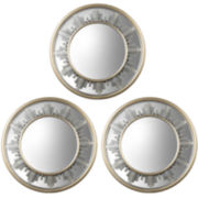 Set of 3 Skyline Bordered Round Wall Mirrors