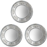 Set of 3 Swirl Bordered Round Wall Mirrors