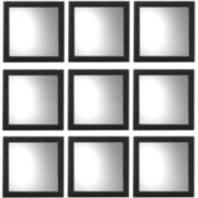 Set of 9 Square Black Wall Mirrors