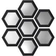 Set of 7 Hexagon Black Wall Mirrors