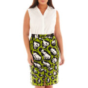Worthington® Sleeveless Button-Front Shirt or Scuba Knit Pencil Skirt - Plus