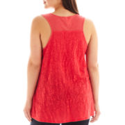 a.n.a® Ribbed Lace-Trim Tank Top - Plus