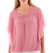 a.n.a® Flutter-Sleeve V-Neck Blouse - Plus
