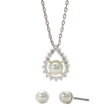 jcpenney.com | Sparkle Allure™ Simulated Pearl & Cubic Zirconia Earring & Pendant Necklace Set