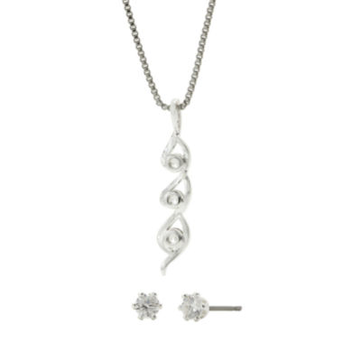 jcpenney.com | Sparkle Allure™ Cubic Zirconia Twisted Pendant Necklace and Stud Earring Set