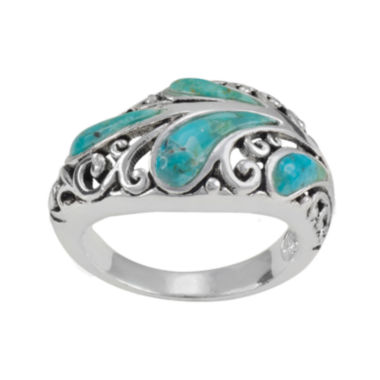 jcpenney.com | Simulated Turquoise Pure Silver-Plated Filigree Ring