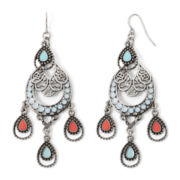 Decree® Aqua and Coral Silver-Tone Chandelier Earrings