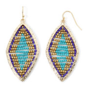 Decree® Seed Bead Diamond-Shape Gold-Tone Drop Earrings