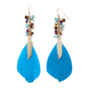 Decree® Feather & Seed Bead Earrings
