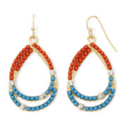 Arizona Coral and Aqua Seed Double-Teardrop Earrings