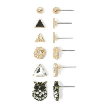 jcpenney.com | Arizona 6-pr. Assorted Fashion Gold-Tone Earring Set