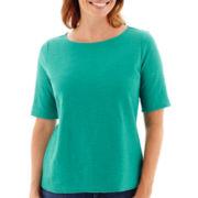 Liz Claiborne® Elbow-Sleeve Shadow Striped T-Shirt - Petite