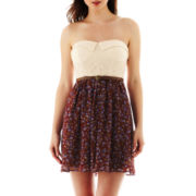 City Triangles® Strapless Lace Print Dress