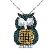 Blue, Yellow & Clear Crystal Owl Pendant Necklace