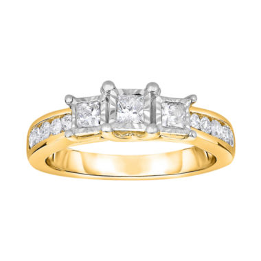 jcpenney.com | TruMiracle® 1 CT. T.W. Diamond 10K Gold Princess-Cut 3-Stone Ring