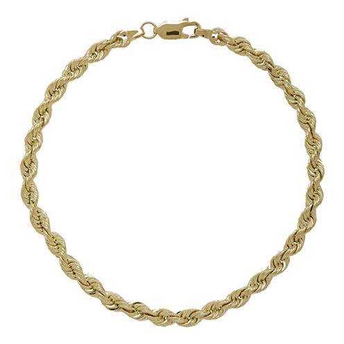 """10K Yellow Gold 8½"""" Hollow Rope Chain Bracelet"""