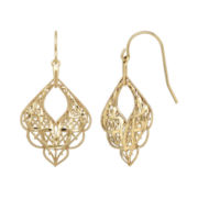 14K Yellow Gold Scalloped Mesh Earrings