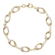 14K Tri-Tone Gold Oval Link Bracelet