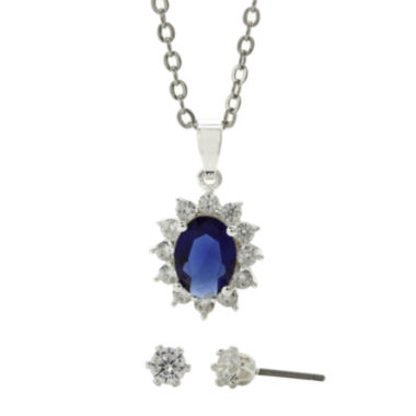 jcpenney.com | Sparkle Allure™ Blue Glass & Cubic Zirconia Earring and Pendant Necklace Set
