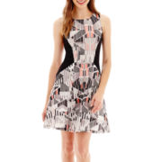 Kelly Renee Sleeveless Print Scuba Knit Fit-and-Flare Dress