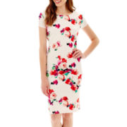 Fifth & Park Short-Sleeve Floral Print Textured Knit Sheath Dress