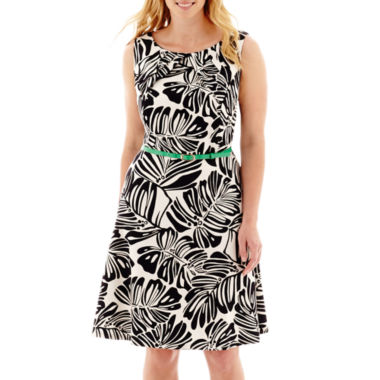 jcpenney.com | Alyx® Sleeveless Palm Print Triple Pleat-Neck Fit-and-Flare Dress - Plus