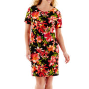 Alyx® Short-Sleeve Tropical Print Sheath Dress - Plus
