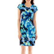 Tiana B. Short-Sleeve Multi Floral Print Sheath Dress - Petite
