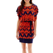 Sangria Short-Sleeve Belted Boatneck Blouson Dress - Petite
