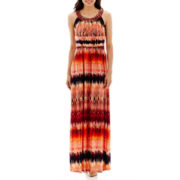 Sangria Reptile Print Striped Maxi Dress - Petite