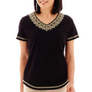 Alfred Dunner® Animal Magnetism Short-Sleeve Soutaché Embroidered-Yoke Top