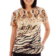 Alfred Dunner® Animal Magnetism Short-Sleeve Diamond Animal Print Texture Top