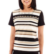 Alfred Dunner® Animal Magnetism Short-Sleeve Striped Top with Fringe