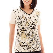 Alfred Dunner® Animal Magnetism Short-Sleeve Tiger Print Top