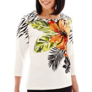 Alfred Dunner® Animal Magnetism 3/4-Sleeve Tropical Flower Print Top