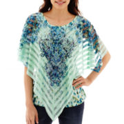 Unity Poncho Point Woven Overlay Top - Petite