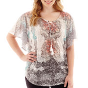 Alyx® Short-Sleeve Sublimation Print Top with Tassels - Plus