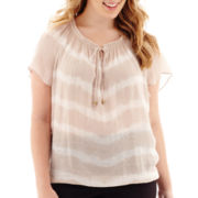 Alyx® Short-Sleeve Tie-Dyed Gauze Bubble Top - Plus