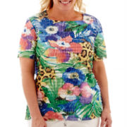 Alfred Dunner® Catalina Island Short-Sleeve Tropical Ruffle Top - Plus
