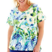 Alfred Dunner® Catalina Island Short-Sleeve Parrot Tropical Top - Plus