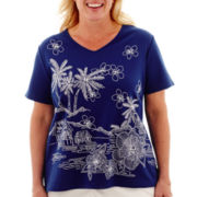 Alfred Dunner® Catalina Island Short-Sleeve Embroidered Scenic Top - Plus