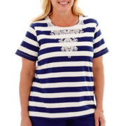 Alfred Dunner® Catalina Island Short-Sleeve Soutaché Lace-Yoke Striped Top - Plus